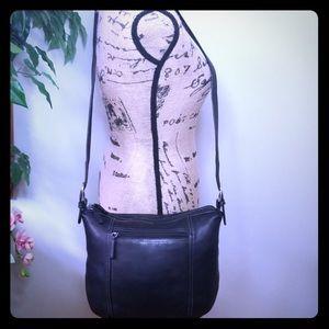 Tignanello Black Leather Crossbody/ Shoulder Bag